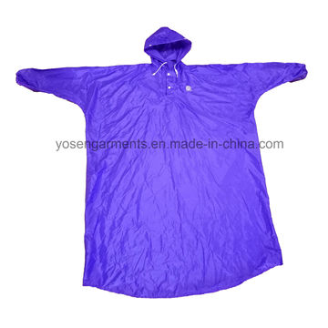 Adult′s Polyester/PVC Waterproof & Windproof Rain Poncho with Hood