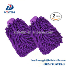 Paquete de 2 microfibras para el lavado de automóviles Mitt Chenille Cleaning Gloves Lavado para el coche Fregona para la limpieza del coche