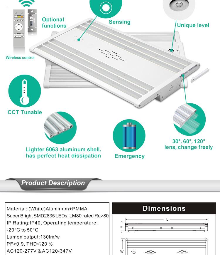 Aluminum LED Flat Linear High Bay Light Fixture 002