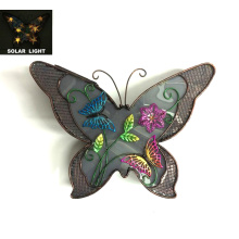 Decoración de la pared de la mariposa iluminada solar del metal antiguo