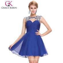 El vestido moldeado ahuecado azul ahuecado del baile de fin de curso del cequi de la lentejuela de la tolerancia Karin sin mangas acanaló el tamaño US 2 ~ 16 GK000068-1
