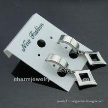 Wholesale 316L Stainless Steel Silver Tone Huggie Earring jewelry for men HE-0087-1