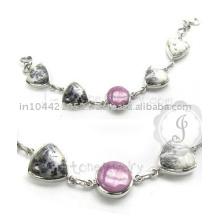 Bracelete de prata com fósforo e dendrítica com pulseira de ágata no preço de atacado