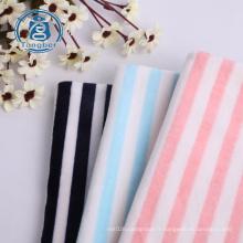 Tissu velours extensible en polyester super doux à rayures