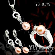 Conjunto de joyas de plata de ley 925 con perla naranja (YS-0023)