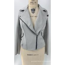 Женская серая куртка из искусственной замши