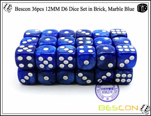 Bescon 36pcs 12MM D6 Dice Set in Brick, Marble Blue-3