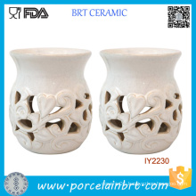 Elegant Candle Jar White Ceramic Candle Holder