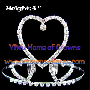 All Clear Crystal Heart Shaped coroas e Tiaras