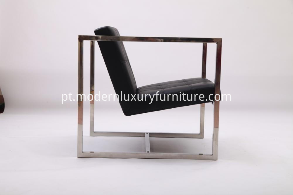 Modern Black Leather Angles Lounge Chairs