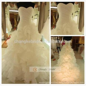 Back Lace Up Strapped Cake Vestido de Boda Vestido de Baile de Lujo vestido de novia