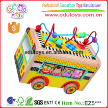 Hand Eye Coordination Mini Activity Toy Curvy Bead Maze Wooden School Bus