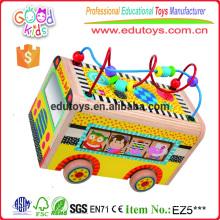 Hand Eye Coordination Mini Activity Toy Curvy Bead Maze Wooden School Bus