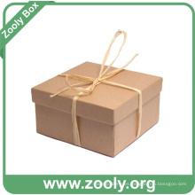 Caja de regalo de cartón de papel Kraft marrón natural con tapa