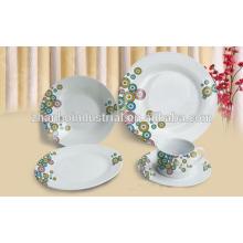 20pcs, 30pcs, White Decal Dinnerware Sets