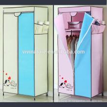 Tragbare Schrank Kleiderschrank Vliesstoff Tuch Speicherorganisator Rack Schlafzimmer Kommode mit Kleiderbügel Regal