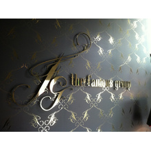 Logotipo personalizado de acero inoxidable para pared de recepción (ID-07)