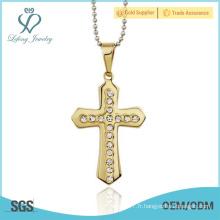 Croix en croix celtique en or, bijoux pendentifs croisés en cristal de style celtique