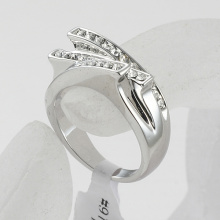 Fashion Exquisite Rhinestone Cross Finger Rings for women rhodium plated clear crystals