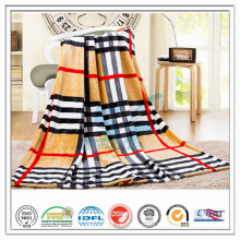 Customized 100% Polyester Check Strip Printed for Hospital Home Airplane Coral Fleece Velvet Blanket