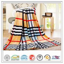 Customized 100% Polyester Check Strip Printed for Hospital Home Airplane Coral Fleece Velvet Blanket
