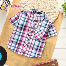 2015 Hot selling 100% cotton short sleeve fashion plaid T shirt for baby boy