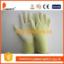 Guantes de seguridad de inmersión de PU de nylon amarillo -Dpu163