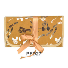Printed golden canvas hand bag for cosmetic kit