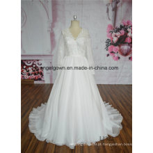 Luva longa elegante do vestido de casamento do vestido de bola