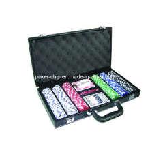 300PCS Poker Chip Set in schwarzer Farbe Leder Tasche (SY-S20)