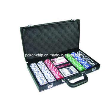 La viruta de póker 300PCS fijó en la caja negra del cuero del color (SY-S20)