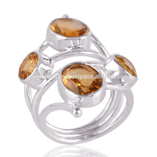Citrine Gemstone 2 Shapes 925 Sterling Silver Bezel Setting Ring Jewelry