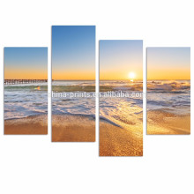 Coastal Landscape Canvas Print/Beach Sunset Art Decoration Wall/Ocean Waves Oil Painting Print