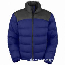 Men's down jacket; quilted goose down coat for 2013 winter, durable fabric with excellent quality