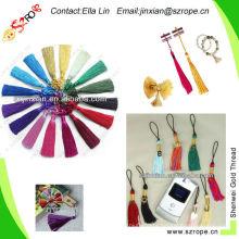 silk thread for tassels/silk tassels wholesale/metal caps for tassel