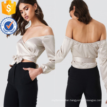 Off-Shoulder Long Sleeve V-Neck Silver Summer Top With Bow Manufacture Wholesale Fashion Women Apparel (TA0081T)