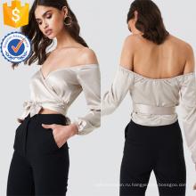 Off-плечо с длинным рукавом V-образным вырезом Серебряный летний топ с бантом Производство Оптовая продажа женской одежды (TA0081T)