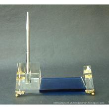 suporte de caneta de cristal com mosaico de ouro para decoração de mesa