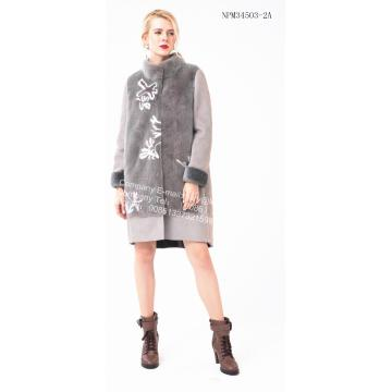 Lady Spagna Merino Shearling Coat Wite Flower