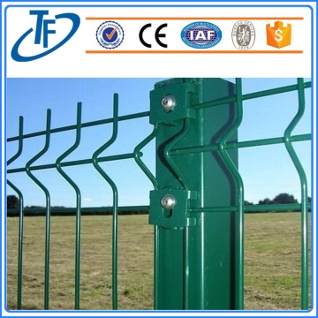 dark green, square post welded wire mesh fence