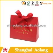 Red rigid paper purse totes with red ribbon knot China wholesales
