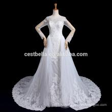 Vestido де noiva с длинным рукавом кружева свадебное платье с длинным хвостом роскошные халат де брак Marriee
