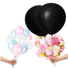 PARTY 36 '' Géant noir rond genre révéler Balloon Pop avec des confettis roses et bleus pour une douche de bébé