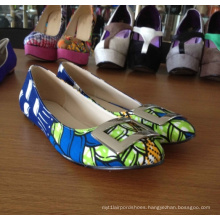 African Printed Fabrics Flat Casual Women Shoes (Hcy02-1059)