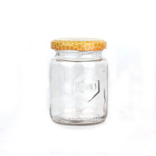 factory price 180ml 6oz round clear packaging glass honey candy food jars bottles with metal lid