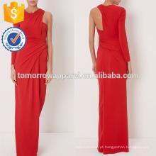 Nova moda vermelho mangas drapeado vestido manufatura atacado moda feminina vestuário (t5273d)