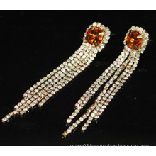 Fashion Hot Sale Bridal Long Hanging Rhinestone Stud Earrings