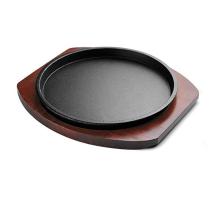 Aceite vegetal Hierro fundido Sizzling Steak Plates con base de madera / Sizzing pan / bakeware