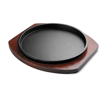 Vegetable Oil Cast Iron Sizzling Steak Plates with wooden base/Sizzing pan/bakeware