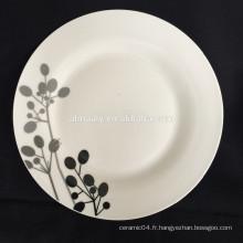assiette en céramique chinoise, assiette en porcelaine de linyi, assiette en porcelaine blanche